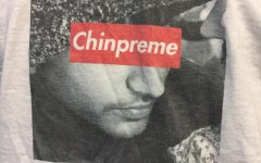 A senior proudly sports Chinpreme attire, unique to the movement. Chinpreme: it is not a cult.