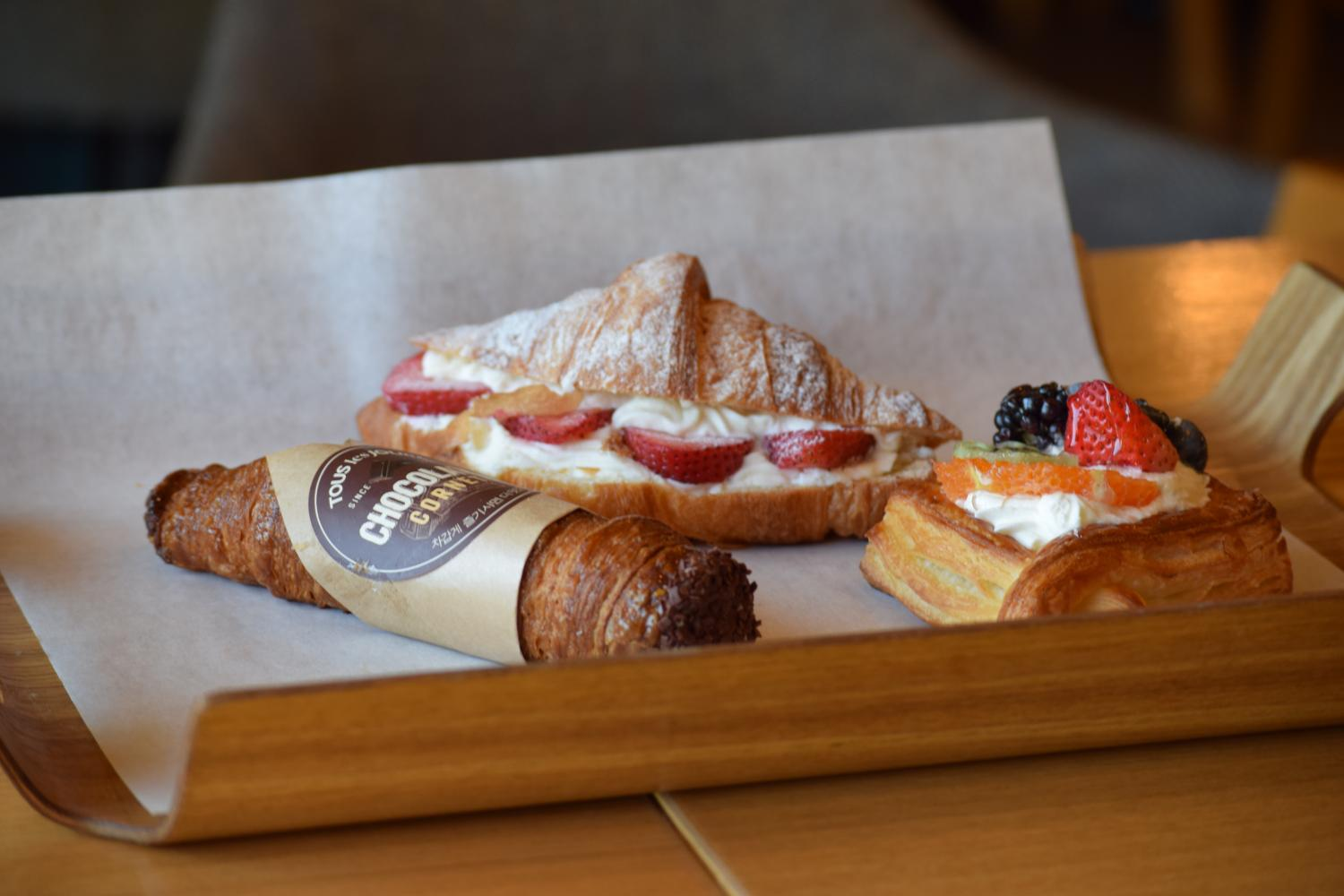 Tous Les Jour's chocolate coronate, strawberry croissant and Fruit Tart