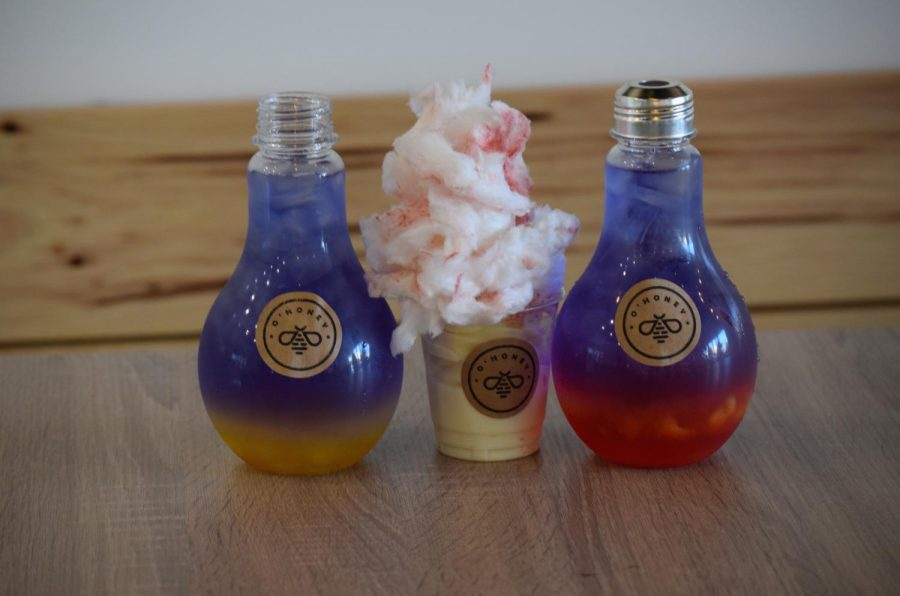 O'Honey's mango pineapple and strawberry peach + a cotton candy milk ice cream