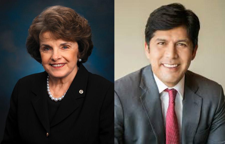 Kevin+De+Leon+%28right%29%2C+incumbent+state+senator+and+Democratic+candidate+for+U.S.+senator+from+California%2C+and+Dianne+Feinstein+%28left%29%2C+incumbent+Democratic+candidate+for+re-election+as+U.S.+senator+from+California%2C+face+off+in+the+polls+for+the+open+U.S.+Senate+seat.