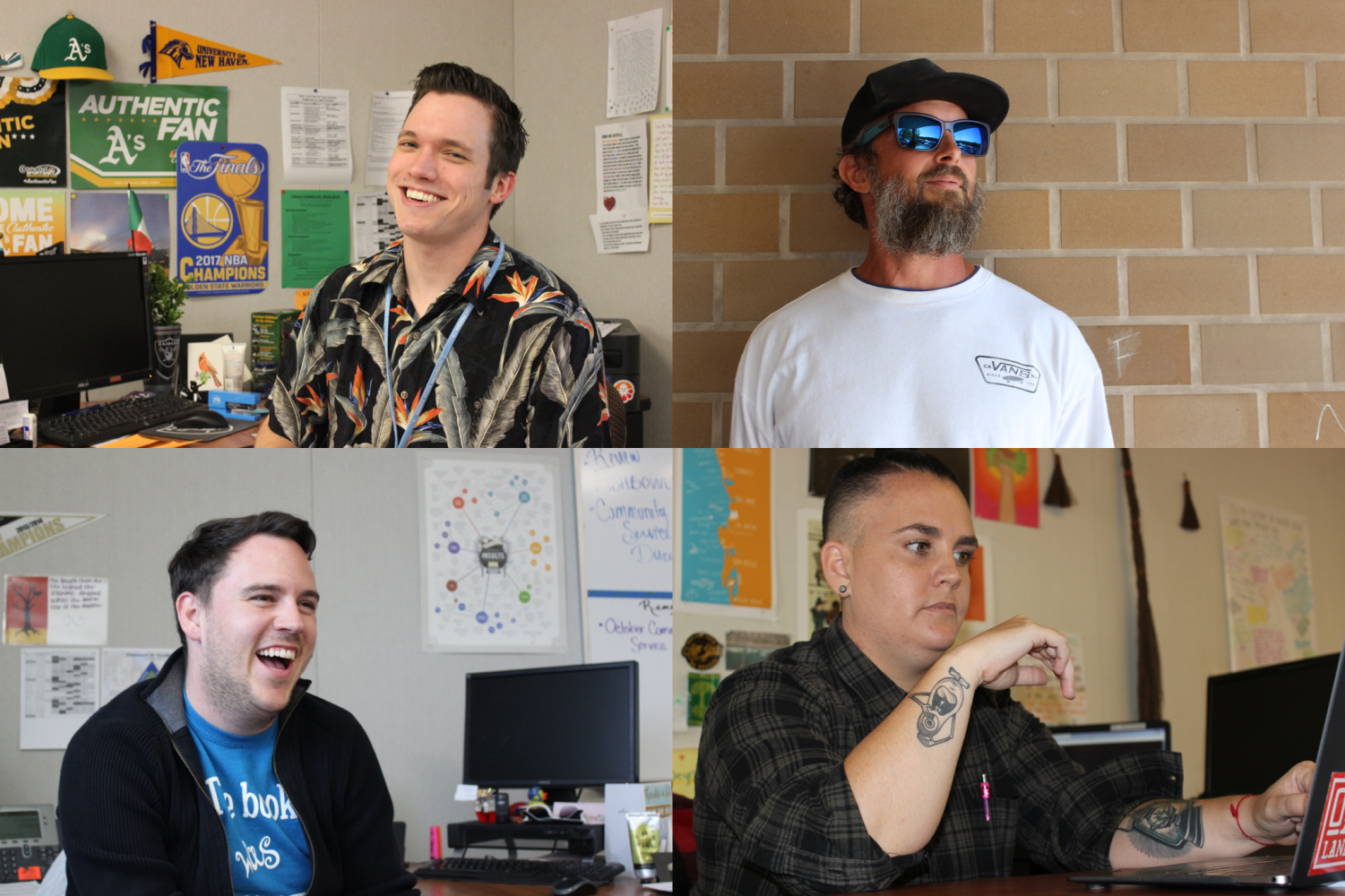Four Dougherty Valley teachers (top left, Michael Morelli; top right, Jack Sorenson; bottom left, Derek Keith; bottom right, Ashley DeGrano) explain the backgrounds and living significance of the ink on their skin.