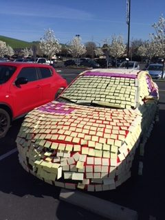 Clemente's car after a playful post-it prank by Mrs. Seipel and Mrs. Chamberlain.