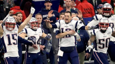 Patriots celebrate after winning sixth Super Bowl.