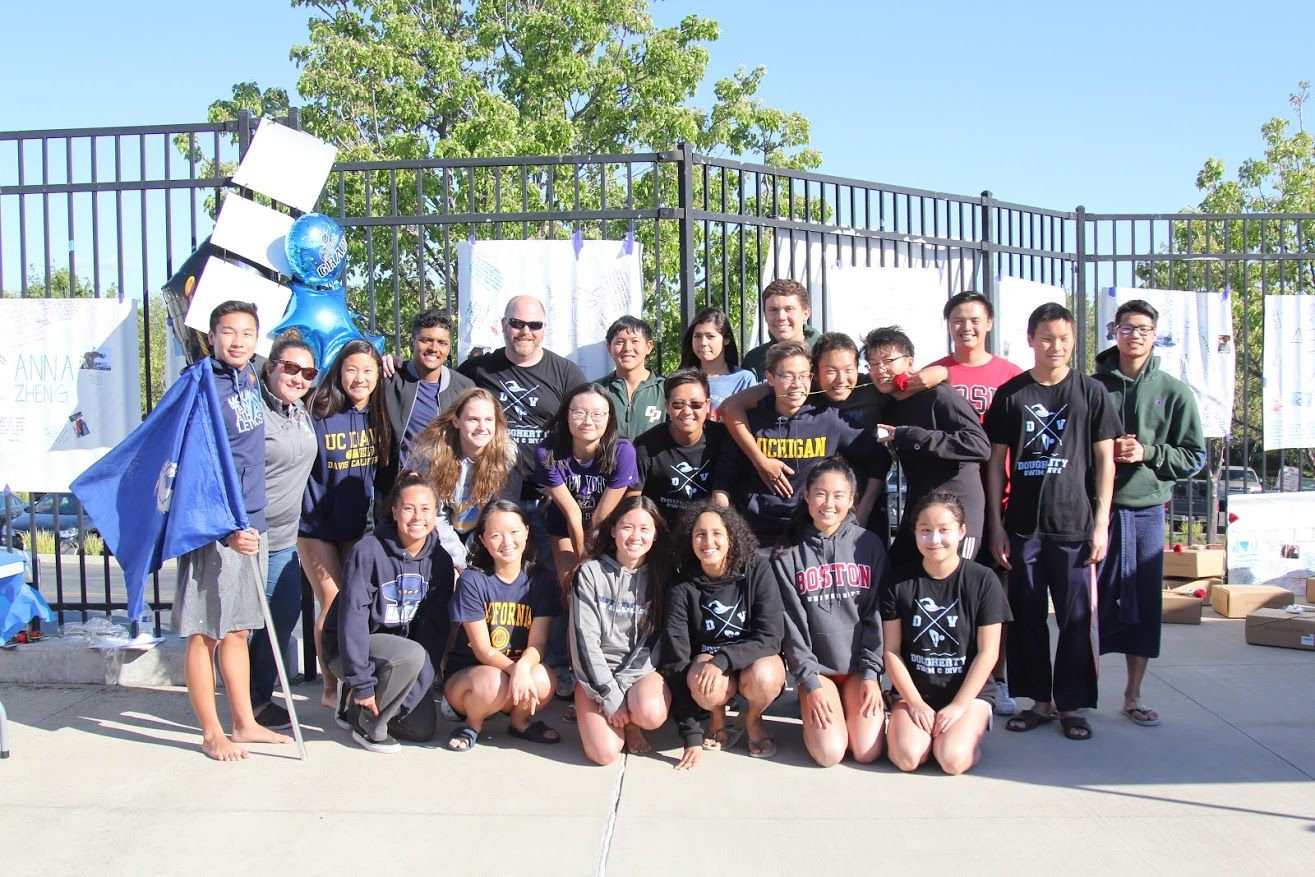 The DV swim team celebrates their victory over California High School.