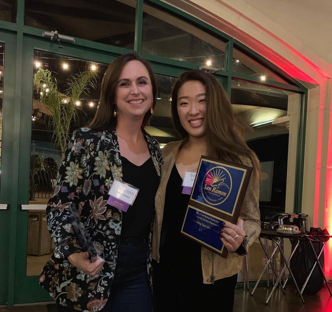 "Dougherty Valley art teacher Kelsey Wengel, left, and junior Erin Ku, right, respectively received the title of ""Educator of the Year"" and the ""Outstanding Teen Citizenship Award"" on Dec. 4."