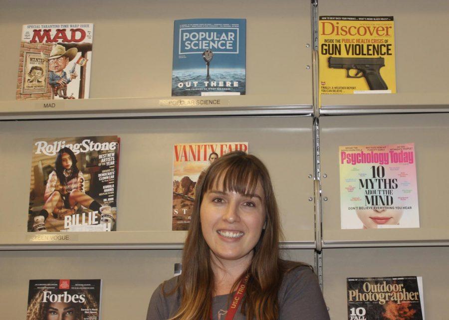 Mrs.+Hussunet+enjoys+her+new+job+position+as+a+teacher-librarian+at+DVHS.