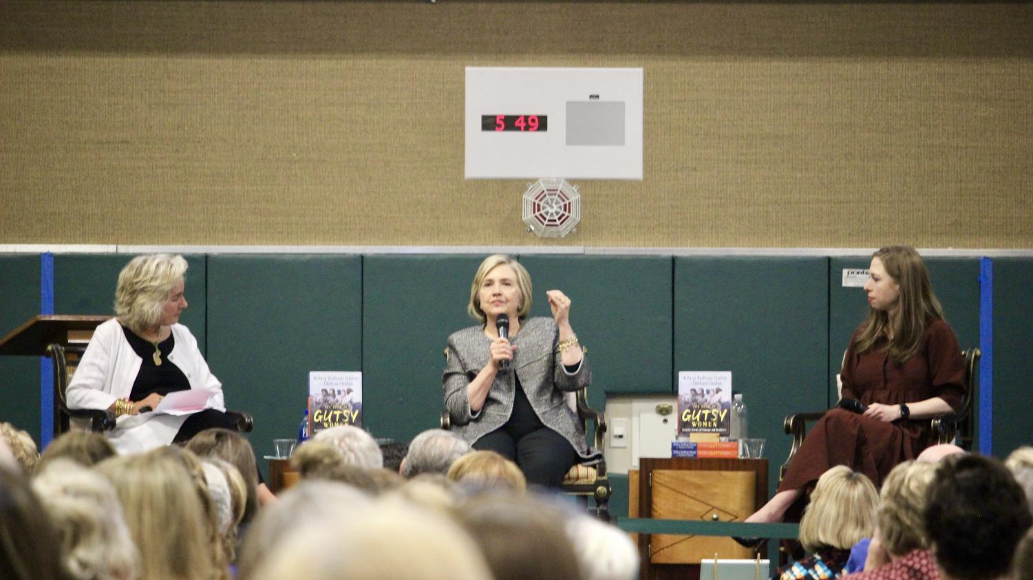 Hillary and Chelsea Clinton speak to a crowd at SRV on Oct. 20, promoting their new book