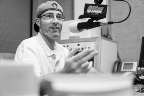 Teacher Lowell Tuckerman working at KTRB 860 AM, the flagship radio station of the Oakland Athletics.