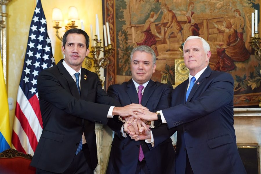 U.S.+Vice+President+Mike+Pence+%28right%29+and+Colombian+President+Iv%C3%A1n+Duque+M%C3%A1rquez+%28middle%29+express+strong+support+for+Interim+President+of+Venezuela+Juan+Guaido.