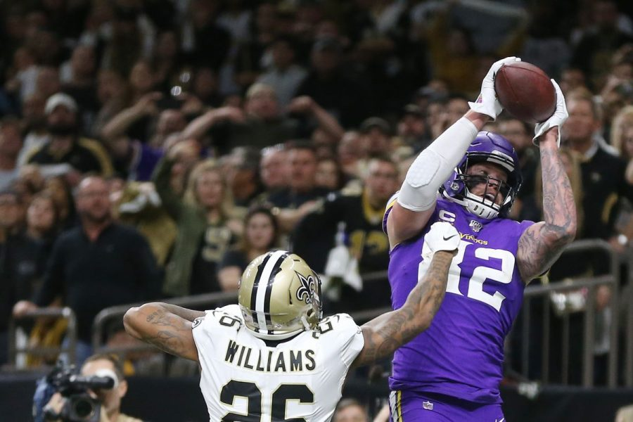 Vikings tight end Kyle Rudolph catches the game-winning touchdown in an overtime win over the Saints.