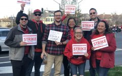 Teachers take to the streets before the start of a teacher work day on Feb. 18.