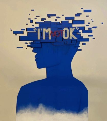 Seniors Jennifer Gee, Aarushi Vekaria, Tracey Ley and Tejal Thakral created the piece outside the 1000 building. Blue masking tape forms the silhouette of a human head that explodes into glitches.