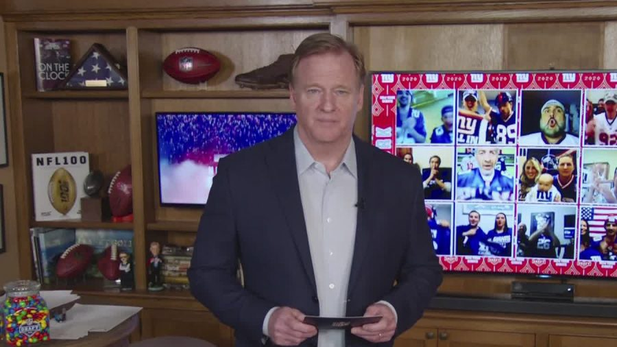 The 2020 NFL Draft was the first virtual draft in the history of the NFL. League commissioner Roger Goodell is announcing all draft picks from his house. All general managers, coaches, and draft prospects are tuning in from their homes.