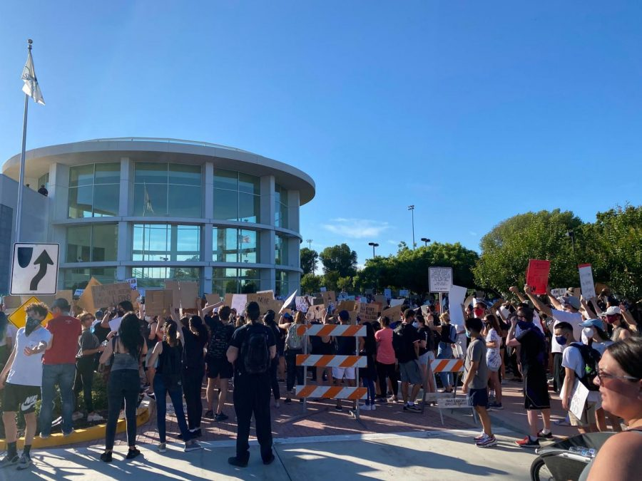 Protestors take to the streets of San Ramon on June 3 to peacefully protest against policy brutality in the the black community, in solidarity with the Black Lives Matter movement.