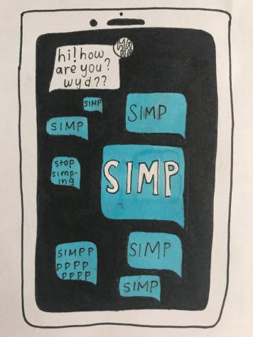 "The word ""simp"" is excessively used out of context."
