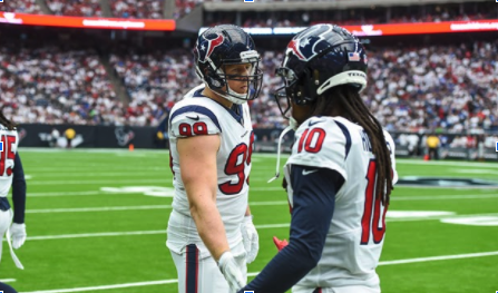 Former Texans JJ Watt and Deandre Hopkins who have both left the Texans and joined the Arizona Cardinals separately