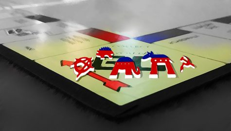 Political symbols representing the Republican Party, Democratic Party, and Libertarian Party sit on a Monopoly board.