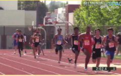 Arcadia Invitational: Aryan Srivastana, 10, the 5th runner from the right in DV's light blue jersey, runs past the 200 meter curve, 200 meters left to go.