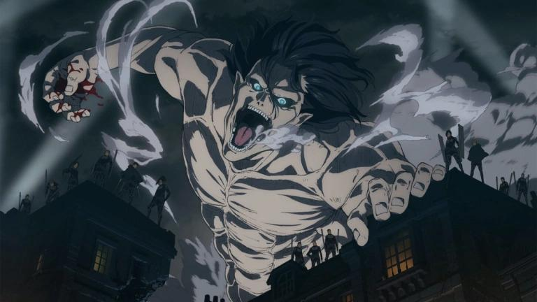A still image from the Attack on Titan anime.