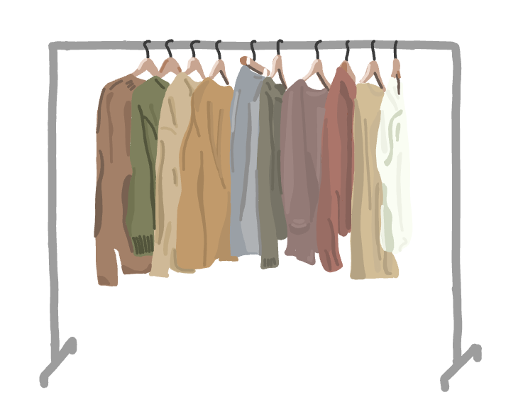 A wardrobe filled with versatile, timeless pieces.